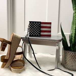 DOMA 90s Leather American Flag Crossbody Wristlet